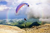 Paraglider Flies From Mount Tahtali, Turkey