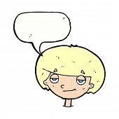cartoon smug looking boy with speech bubble