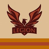 Постер, плакат: Vector logo with a picture of an eagle Legion