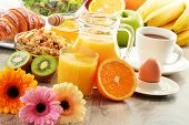 foto of buffet  - Breakfast with coffee juice croissant salad muesli and egg - JPG