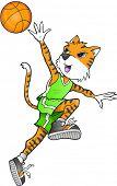 Tiger Basketball Player Vector Illustration Art