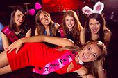 stock photo of hen party  - Pretty friends on a hen night at the nightclub - JPG