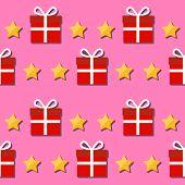 Seamless Pattern. Giftbox And Stars Symbols.