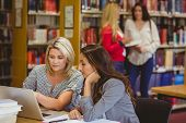 Two focused students on laptop with classmates behind them in library