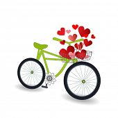 Bicycle with a basket of hearts