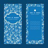 Vector blue white lineart plants vertical frame pattern invitation greeting cards set