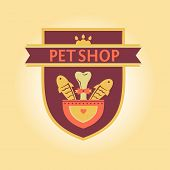 Vector logo for a pet store in heraldic style. Accessories for pets