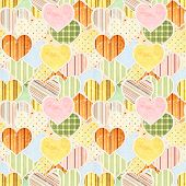 Seamless Valentine background with paper hearts
