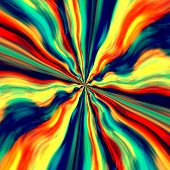 Colorful vortex background and screensaver. Abstract blue orange generative art. Graffiti spray.