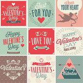 Valentine`s day card set. Vector illustration.