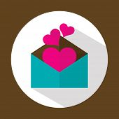 Valentine letter, flat icon with long shadow, vector illustration
