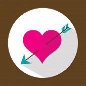 Valentine heart, flat icon with long shadow, vector illustration