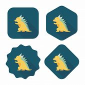 Dinosaur Flat Icon With Long Shadow,eps10