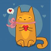 Cute red cat on blue