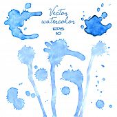 Blue watercolor/ink spills, blots and stains. Vector.