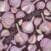 Garlic. Seamless pattern. Different garlic bulbs and lettering on dark background