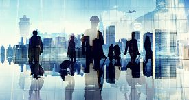 stock photo of cabin crew  - Business People Silhouette Cabin Crew Airport Professional Occupation - JPG