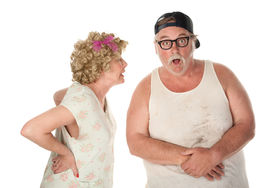 stock photo of wife-beater  - Bickering wife confronting husband on white background - JPG
