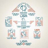pic of eagle  - Made in the USA Symbol with  American flag and eagle Set of templates emblems - JPG