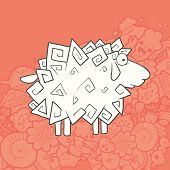 picture of kawaii  - Vector Illustration Cute Hand Drawn Sheep with a flourish in the form of triangles - JPG