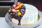 stock photo of kumquat  - Cake with strawberries - JPG
