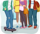 foto of gathering  - Cropped Illustration of Teenage Students Gathering Together - JPG