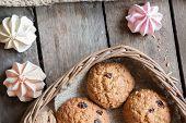 foto of baked raisin cookies  - Cookies in a basket - JPG