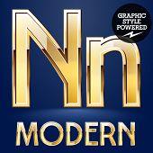 image of letter n  - Vector set of modern golden glossy font - JPG