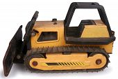 pic of bulldozers  - Shot of a toy bulldozer over white - JPG