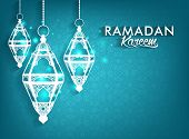 stock photo of occasion  - Beautiful Elegant Ramadan Kareem Lanterns or Fanous Hanging With Colorful Lights in Islamic Pattern Background for the Holy Month Occasion of fasting - JPG