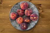 picture of peach  - Peach on wooden table Nutritious and healthy food - JPG