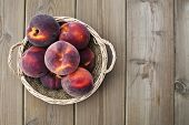 pic of peach  - Peach on wooden table Nutritious and healthy food - JPG