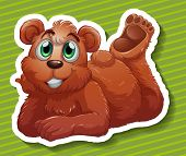 stock photo of grizzly bear  - Close up grizzly bear with happy face - JPG
