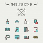 Education thin line icon set for web and mobile. Set includes- - graduation cap, notepad with pen, c poster