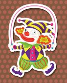 stock photo of jump rope  - Funnly clown jumping on a jump rope - JPG