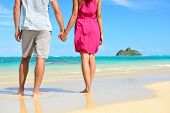 picture of na  - Holding hands romantic newlyweds couple on beach - JPG