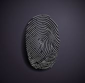 pic of fingerprint  - Flat metallic icon fingerprint on a gray background - JPG
