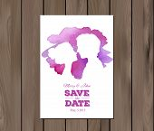 pic of ombre  - Save the date wedding invitation with watercolor elements and profile silhouttes of man and woman - JPG
