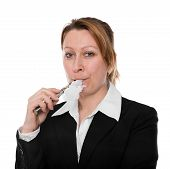 pic of electronic cigarette  - businesswoman smokes an electronic cigarette in front of white background - JPG