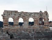 picture of arena  - detail of the exterior of the Arena in Verona City in Italy - JPG