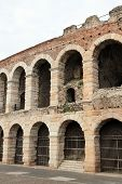 stock photo of arena  - detail of the exterior walls of the ancient Roman Arena in Verona in Italy - JPG
