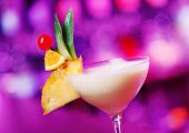 image of pina-colada  - Pina Colada cocktail shot on a bar counter in a nightclub - JPG