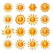 image of mood  - Funny bright sun symbol pictograms collection for decoration and expressing mood and emotion abstract isolated vector illustration - JPG