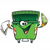 picture of reuse recycle  - Happy cartoon smiling garbage bin character - JPG
