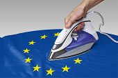 foto of iron star  - Steam iron for smooth out the wrinkles of Flag from Europe - JPG