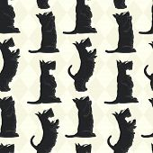 stock photo of scottish terrier  - Cute seamless pattern with sketches of four cute Scottish terriers in different poses - JPG
