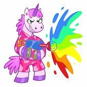 pic of wacky  - Unicorn soldier shooting from a rainbow cannon - JPG