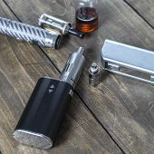 pic of e-cigarettes  - Kit for healthy smoking on wooden background e - JPG