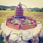 foto of wine-press  - Antique Screw Press for Pressing Grapes in the French Village Retro Effect - JPG