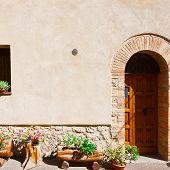 stock photo of windows doors  - Door and Window on the Facade of the Restored Italian Home  - JPG